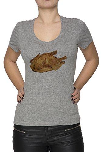 Poulet Gris Coton Femme V-Col T-shirt Manches Courtes Grey Women's V-neck T-shirt
