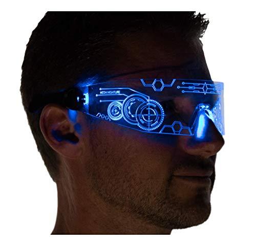 Light Up Sunglasses Rave (Neon Nightlife LED Light Up Glasses, Single Lens Tron Style,)