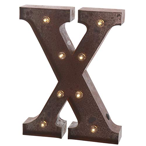 """(Barnyard Designs Metal Marquee Letter X Light Up Wall Initial Wedding, Home and Bar Decoration 12"""" (Rust))"""