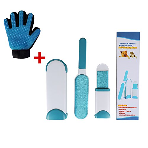 Pet Hair Remover Tool with Self-Cleaning Base - Fur & Lint Removal Brush Kit - Dog & Cat Hair Remover for Clothes,Furniture,Car,Couch,Carpet -Includes Grooming & Deshedding Glove