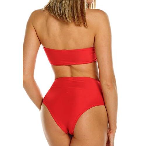 FITTOO Bikini Bandeau Maillot de Bain Femme Deux Pièces Push-up avec Pad