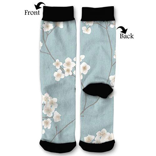 (Radiance Blue Cream Pattern High Ankle Socks,Men Women All Season Sock,Soft Cotton Breathable Printed Rib Sox)