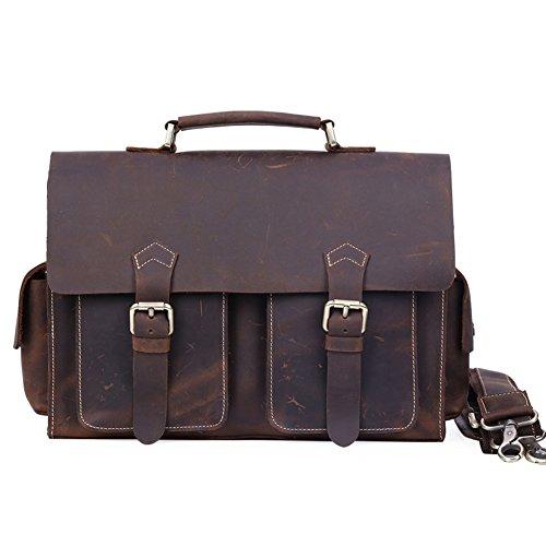 """Kooertron Herren Leder Schultertasche 36x10x24cm Aktentasche Dunkelbraun Umhängertasche 13"""" Laptopbag Messengerbag mit Verstellbarem Riemen"""