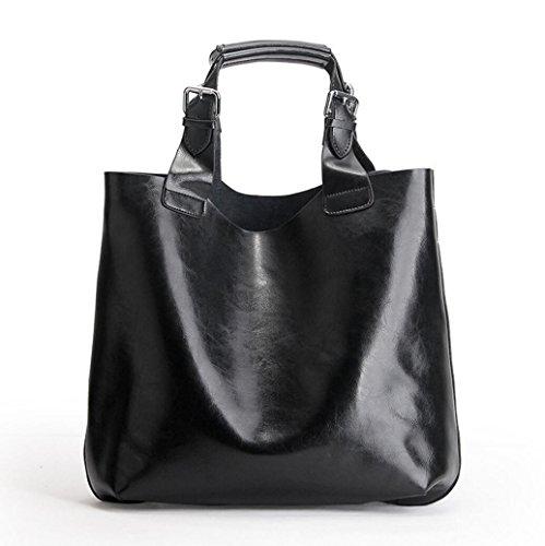 Bolso de cuero de gran capacidad de la manera del bolso del zurriago de cuero del bolso de las señoras paquete Negro