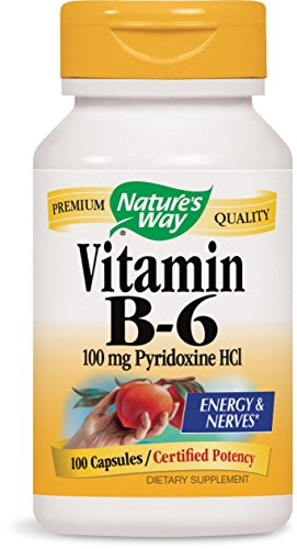 Nature's Way Vitamin B-6 100 Mg Pyridoxine Hci Energy and Nerves, 100 Capsules, 100 Count