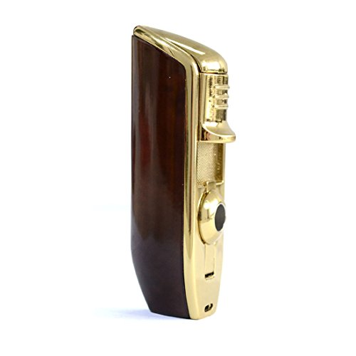 YINO Luxurious Perfect Scorch Torch Triple Jet Flame Butane Cigarette Torch Lighter with Cigar Punch Attachment Cigar Punch tool- brown
