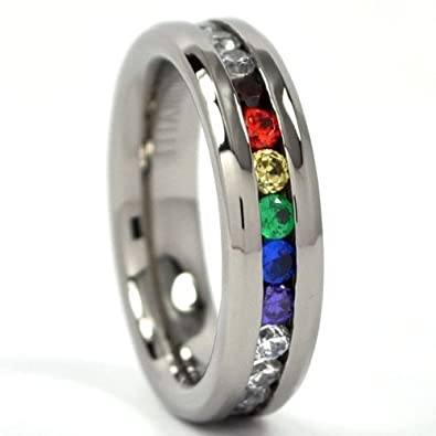 6mm titanium ring rainbow band titanium bands for women - Rainbow Wedding Rings