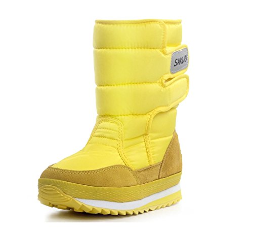 Short Women's Waterproof Yellow Sakura boots Furry boots boots snow Fortuning's Colorful Velcro Winter Girl's Space JDS CPq55wT