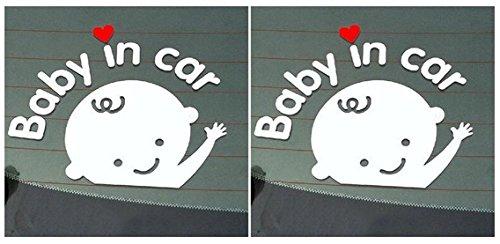 Baby in Car Waving Baby on Board Safety Sign Cute Car Decal/Vinyl Sticker (2pcs(Boy+Boy))