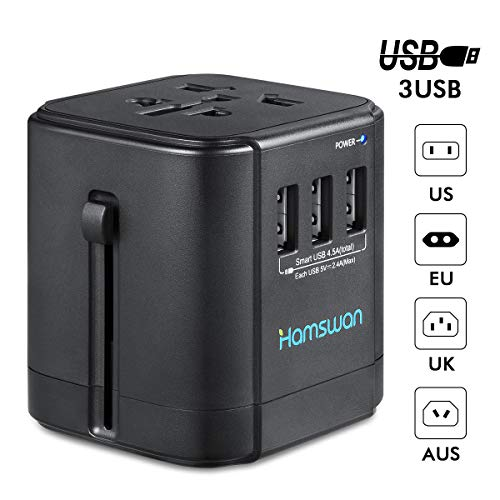 Universal Travel Adapter, HAMSWAN All-in-One BST-622A World Travel Adapter with 4.5A 3 USB Ports for US EU UK AU & Asian Countries, 150+ Countries, Travel Pouch