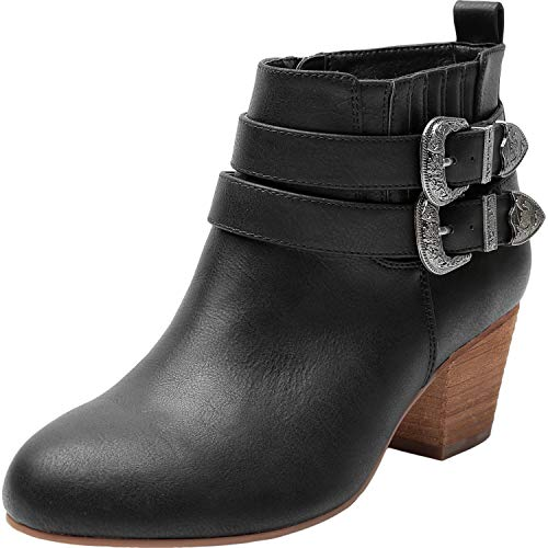Leather Buckle Boot - Luoika Women's Wide Width Ankle Boots - Side Zipper Metal Flower Buckle Strap Mid Chunky Block Heel Booties. (180623,Black,9.5WW)