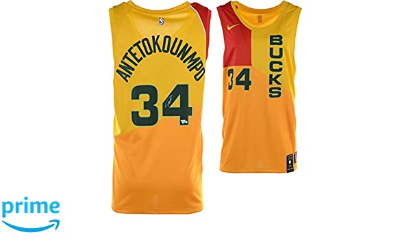 Giannis Antetokounmpo Milwaukee Bucks Autographed Yellow Nike City Edition  Swingman Jersey - Fanatics Authentic Certified at Amazon s Sports  Collectibles ... 6a3b7e570