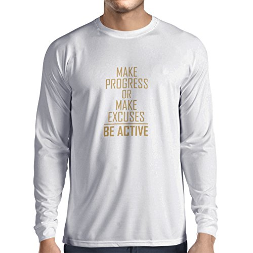lepni.me Camiseta de Manga Larga para Hombre Sea Activo - viviendo sin Excusas - motivacion - Citas diarias Inspiradoras para...