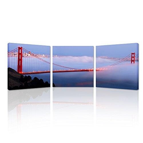 Creative Art San Francisco Golden Gate Bridge Picture Canvas Wall Art Framed, Multicolor, 3 Piece
