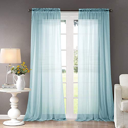 Dreaming Casa Solid Sheer Curtains Draperies Lake Blue Rod Pocket, 2 Panels 52