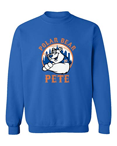 (SMARTZONE New York Fans Alonso Polar Bear Pete Baseball Unisex Sweatshirt Crewneck Sweater (Royal, Large))