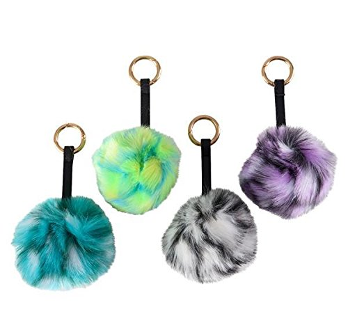 3.5'' JUMBO COLORFUL POM POM KEYCHAIN, Case of 144