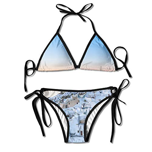 (Beautiful Santorini Greece Women's Sexy Bikini Set Swimsuit Bathing Suit Halterneck Triangle Swimwear )