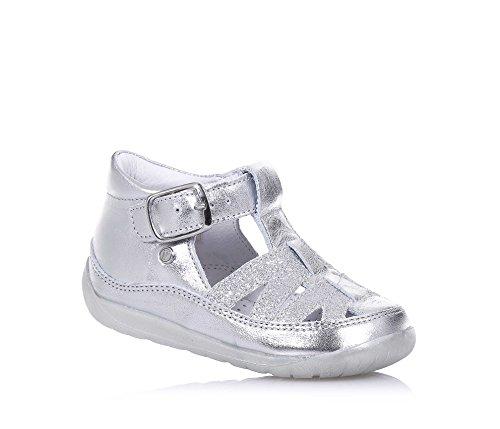 FALCOTTO - Sandale argent en cuir et glitter, idéale pour les premiers pas et pour ramper, fermeture avec boucle, Fille, Filles