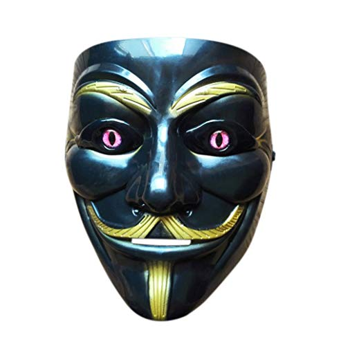 Halloween Anonymous Costume Cosplay Guy Fawkes V for Vendetta Mask (Black) -