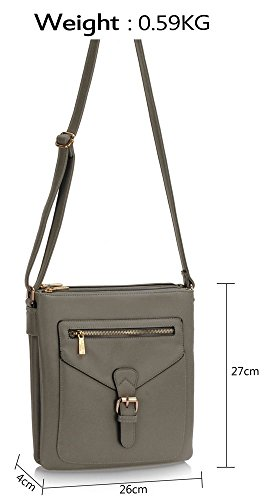 Leather Shoulder CWRB15112 Designer Celebrity Women's CWS00428 Messenger CWS00428 Quality Fashion Body Handbags Grey Cross Faux Zipper Bags Ladies CWS00433 1Azwdqfxw