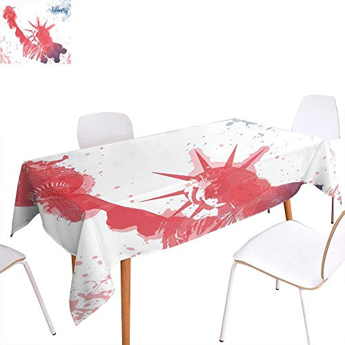 familytaste 4th of July Dinning Tabletop Decoration Watercolor Lady Liberty Silhouette with Paint Splashes Independence Table Cover for Kitchen 50