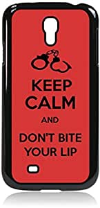 Keep Calm and Don't Bite Your Lip - Hard Black Plastic Snap - On Case-Galaxy s4 i9500 - Great Quality!
