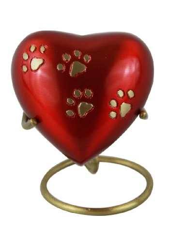 Red Heart Paw Prints Small Keepsake Urns for Cremation Ashes with Stand