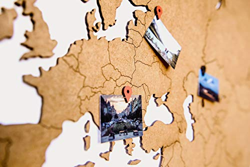 (World Map Wall Art - Wooden World Map Decor/Wall Decoration/Wooden Decor for Living Room or Office for Travellers / 3D Decor/Murals Wall Art/DIY Wall Art (Brown, 51,1 x 30,7))