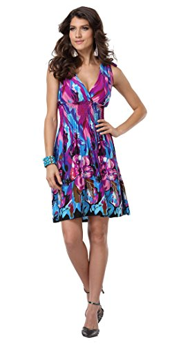 Jinhuanshow Women's Spring Summer Bold Printed Dresses Flower14 (Medium, Color4)