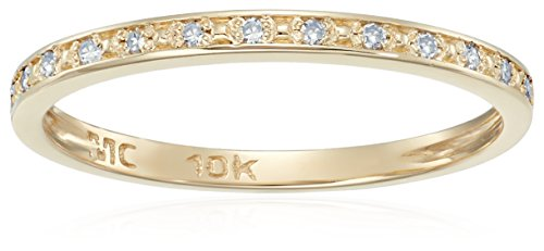 10k Gold Round Diamond Accent Wedding Band