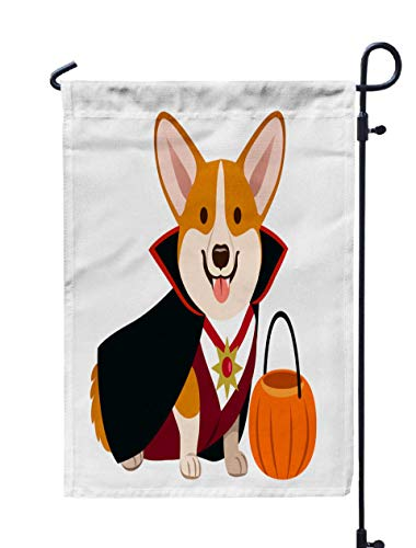 GROOTEY Welcome Outdoor Garden Flag Home Yard Decorative 12X18 Inches Dog Wearing Vampire Halloween Costume Black Fangs White Shirt Dark Red Vest Pumpkin Trick Double Sided Seasonal Garden Flags]()