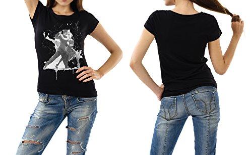 Tanzpaar schwarzes modernes Damen / Frauen T-Shirt mit stylischen Aufdruck