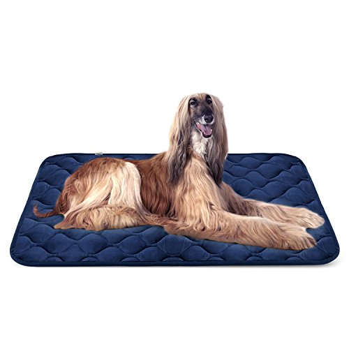 Dog Bed Mat Washable - Soft Fleece Crate Pad - Anti-slip Matress for Small Medium Large Pets (Blue XL) by HeroDog by Hero Dog