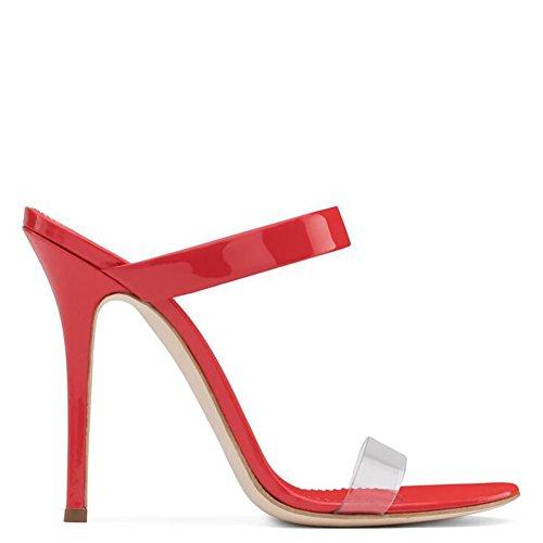 Sandali Light Europa Donne Stati alto da PVC SHINIK tacco Shoes Rosso Estate Pantofole Heel Scarpe donna Heels Up e con Uniti Stiletto qxzZqI8wp