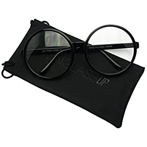 Vintage Inspired Round Super Oversized Clear Lens Fashion Circle Eye Glasses (Black, Clear)