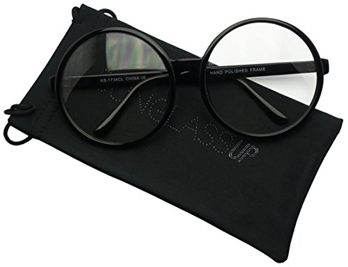 Vintage Inspired Round Super Oversized Clear Lens Fashion Circle Eye Glasses (Black, - Circular Frames Eyeglasses