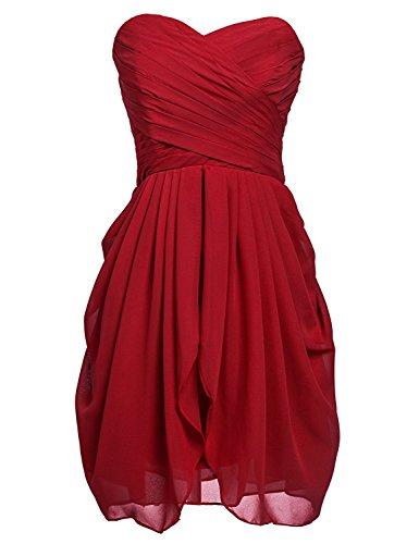Sarahbridal Women's Chiffon Bridesmaid Dresses Sweetheart Short Homecoming Prom Gowns Burgundy US20