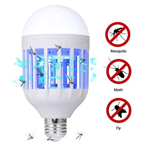 Killer Bulb - GLOUE Bug Zapper Light Bulb, 2 in 1 Mosquito Killer Lamp Uv Led Electronic Insect & Fly Killer for Indoor and Outdoor,E26 or E27