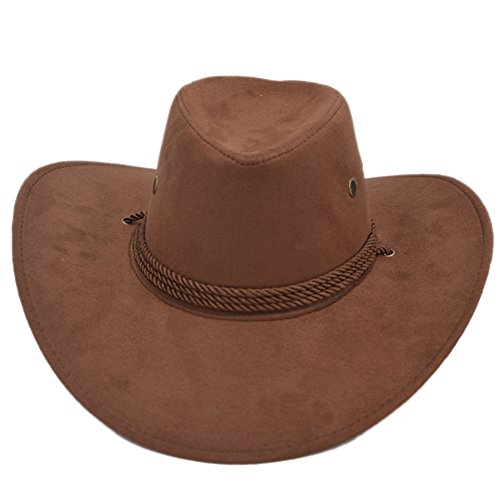 Yosang Adult Western Suede Hat Cowboy Outdoorsman Hat Travelling Summer Cap -