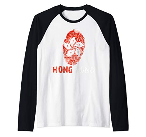 HONG KONG Finger Print Flag Tshirt I Love Travel Tee Raglan Baseball Tee