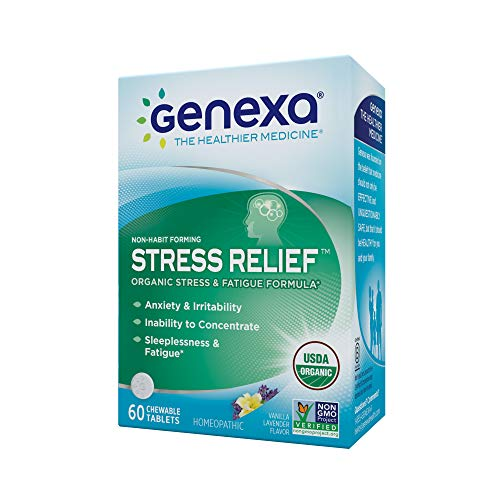 Genexa Homeopathic Stress & Anxiety Relief: Natural, Certified Organic, Physician Formulated, Non-Habit Forming, Non-GMO Stress Supplement. Promotes Calmness & Relaxation (60 Chewable Tablets) from Genexa