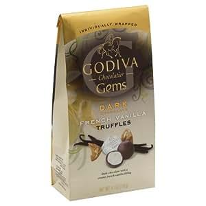 Godiva Gems Dark Chocolate French Vanilla Truffles 4.1 Oz
