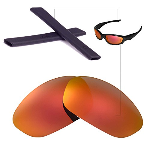 Walleva Replacement Lenses + Rubber For Oakley Straight Jacket - Multiple Options Available (Fire Red Polarized Lenses + Black Rubber) (Black Base Red Lens)