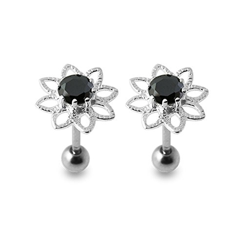 Black Gems Stone Fancy Flowers 925 Sterling Silver Ear Piercing jewelry with 16Gx5/16(1.2x8MM) 316L Surgical Steel Barbell and 4MM Ball. Sold by Pair by Silver Jewelry