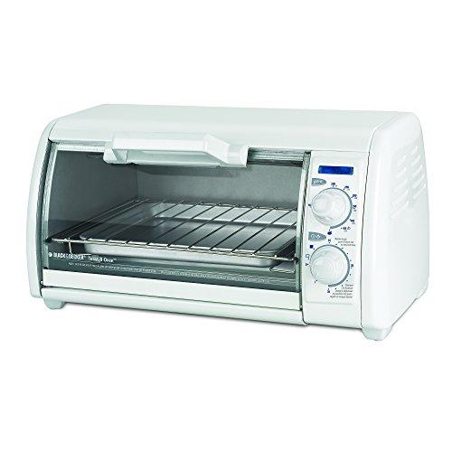 BLACK+DECKER TRO420 4-Slice Toaster Oven, Includes Bake Pan, Broil Rack & Toasting Rack, White Toaster Oven
