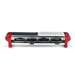 H.Koenig RP4 - Raclette-grill con piedra natural para 4 personas, 600 W, color rojo