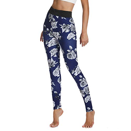 FITTOO Women's High Waisted Butt Scrunch Leggings Floral Print Ruched Yoga Pants Push up Booty Tights Blue XL