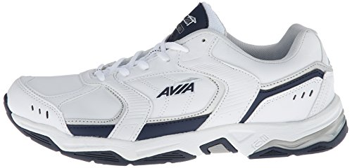 AVIA Men's Tangent Training Shoe, White/Submarine Blue/Chrome Silver, 9.5 M US