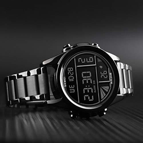 Mens Watches Fashion Waterproof LED Digital Sport Watch Multi Function Outdoor Waterproof Military Watch (Black)